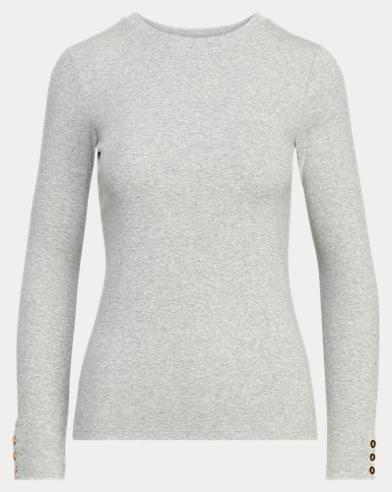 Button-Cuff Cotton-Blend Top