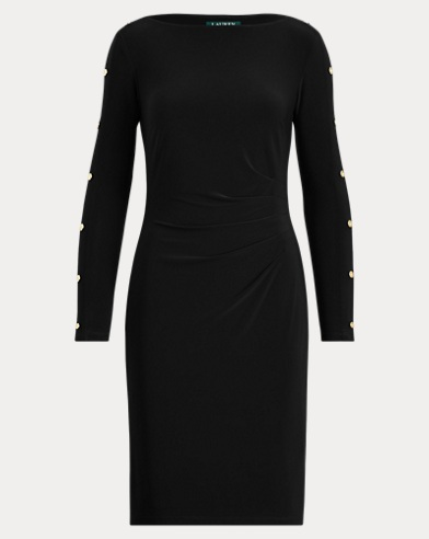 Button-Trim Matte Jersey Dress