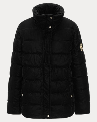 Crest-Patch Velvet Jacket