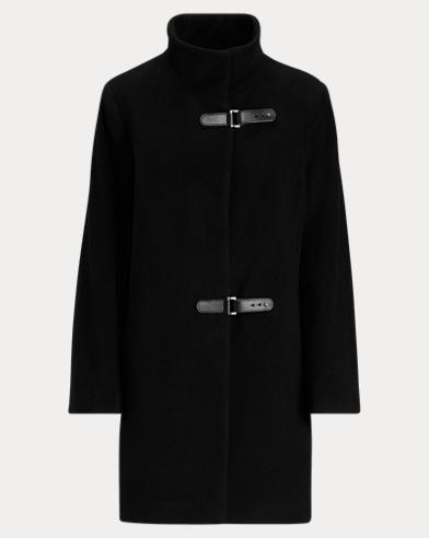 Abrigo de cuello semicisne en mezcla de lana