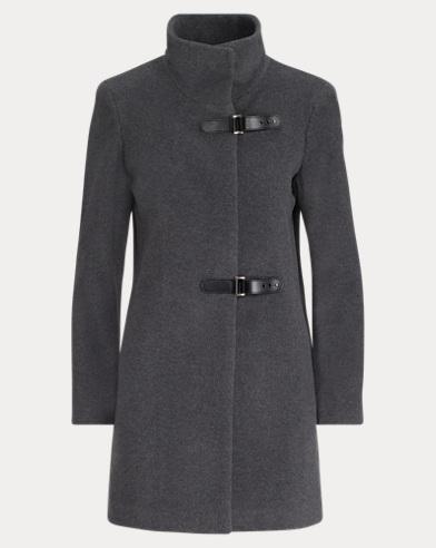 Wool-Blend Mockneck Coat