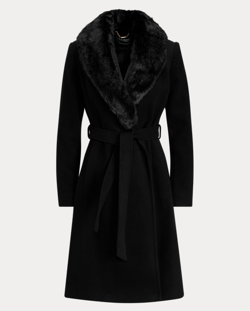 aaab13b103923 Faux-Fur-Collar Wrap Coat