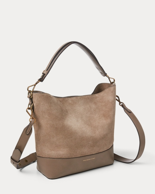 35a3b04beb Polo Ralph Lauren Small Suede Leather Hobo Bag 2