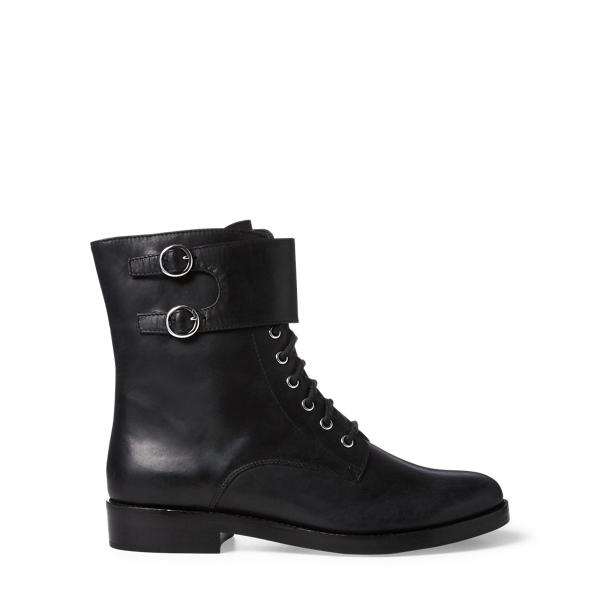 Ralph Lauren Saige Leather Combat Boot Black 8