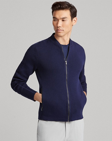 Cotton-Blend Full-Zip Sweater
