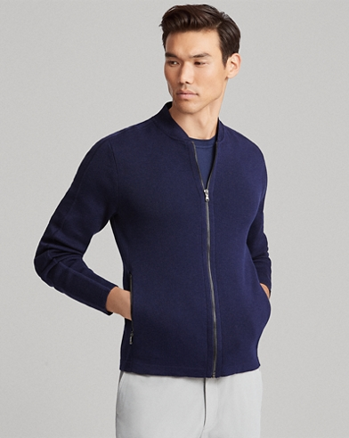 Cotton-Blend Full-Zip Sweater