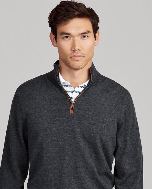 38b400fc Merino Wool Half-Zip Sweater