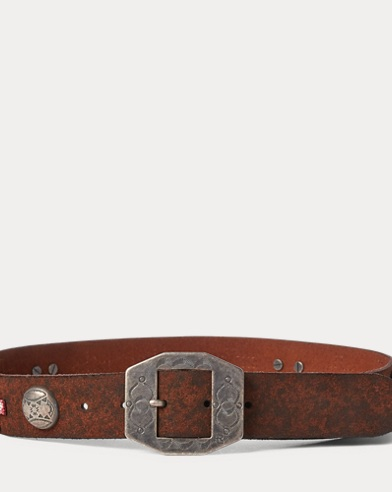 Distressed Leather Concho Belt