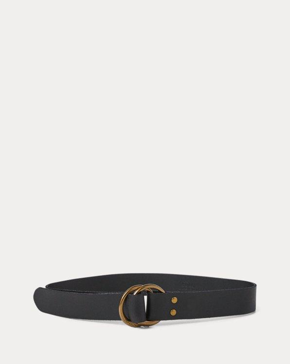 Cinturón de piel con anilla circular