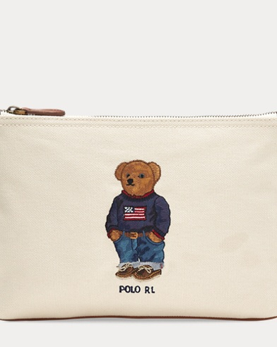 Polo Bear Canvas Zip Pouch
