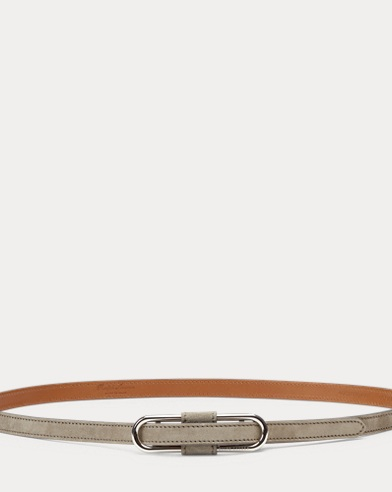 Oval-Bar Suede Skinny Belt