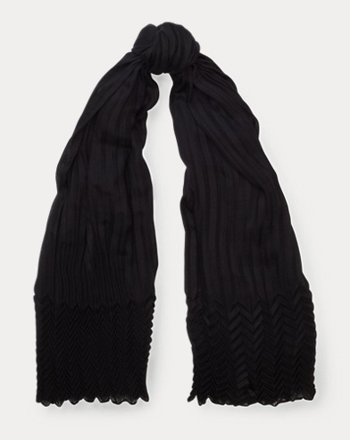 Pleated Cashmere-Blend Scarf