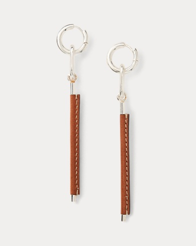 Leather-Silver Drop Earrings