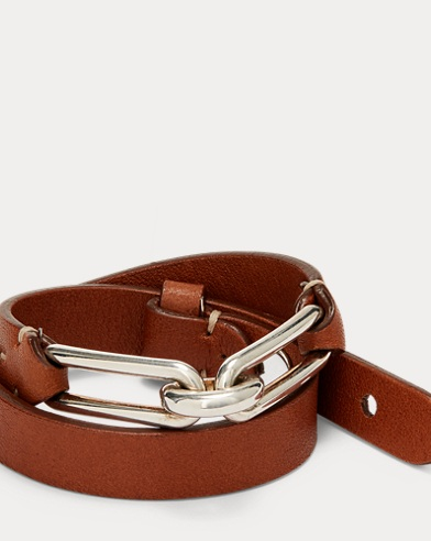 Oval-Link Leather Bracelet