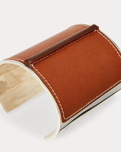 Leather-Silver Cuff