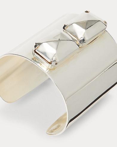 Bracelet manchetteen argent à pierre