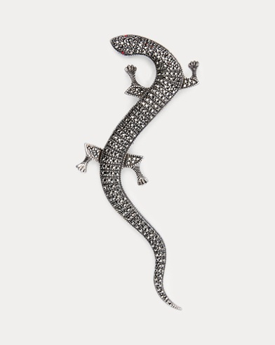 Crystal Gecko Brooch