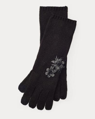 Handschuhe mit Blumenmotiven