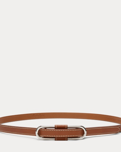 Oval-Link Leather Skinny Belt