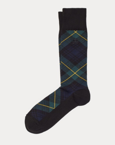 Tartan-Crew-Socken mit Totenkopf