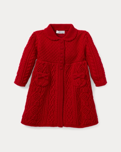 Aran-Knit Wool Jumper Coat