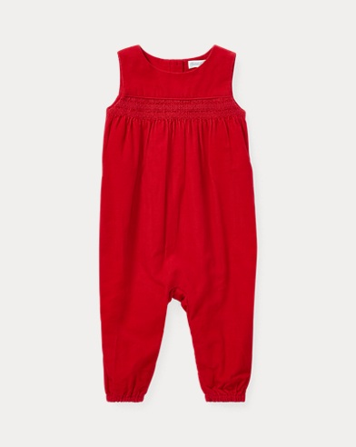 Smocked Corduroy Coverall