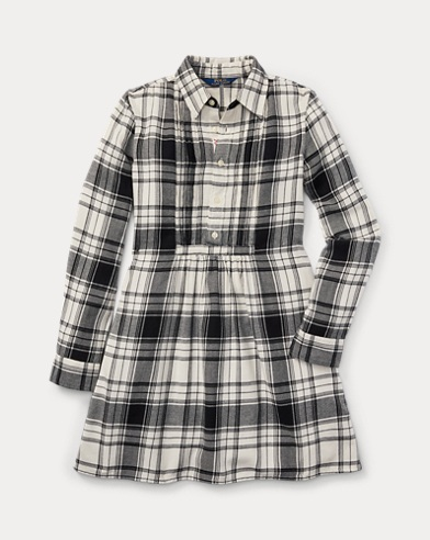 Plaid Cotton Twill Shirtdress