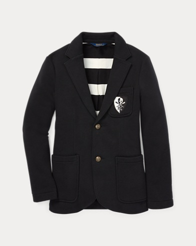 Brass-Button Fleece Sport Coat