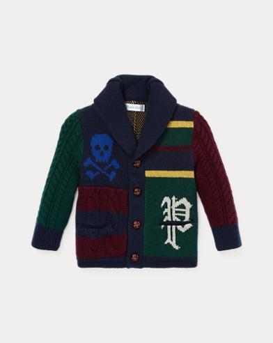 Cardigan patchwork laine de mérinos