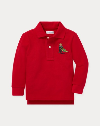 Holiday Bear Cotton Mesh Polo