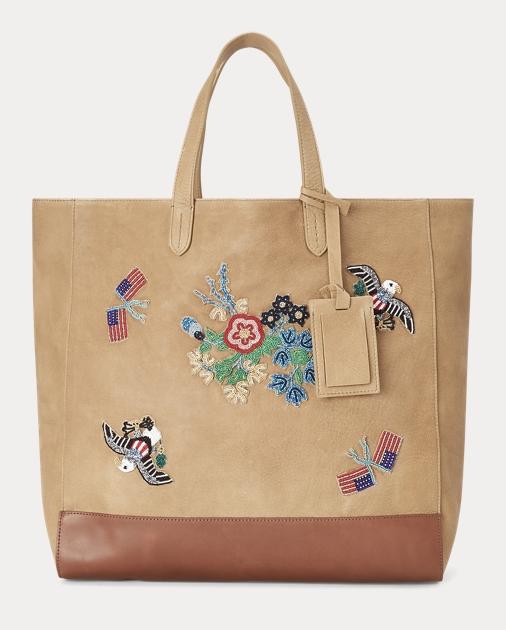 Beaded Deerskin Large Tote Bag 05d570270a0ef
