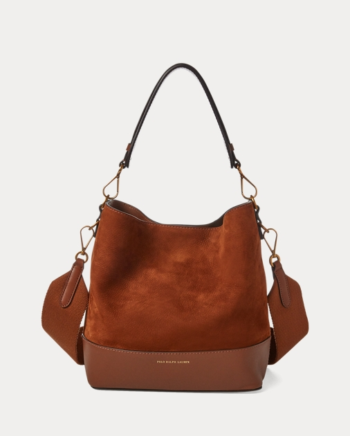 156ad4b365 Polo Ralph Lauren Small Suede Leather Hobo Bag 1