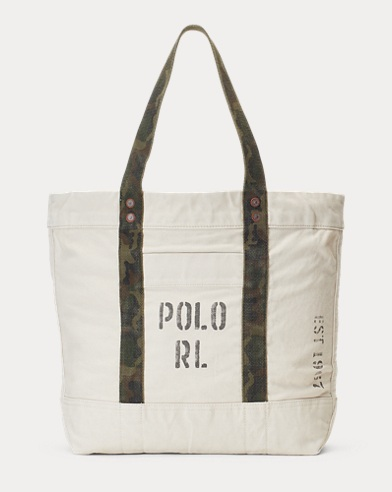 Faded-Text Canvas Tote Bag. Polo Ralph Lauren