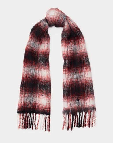 Plaid Fringe Wool Scarf