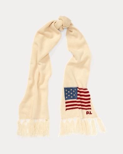 Écharpe drapeau en laine à franges