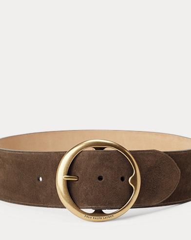 Cinturón ancho de piel vacheta Lennox