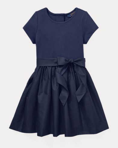 Knit-Woven Fit-and-Flare Dress