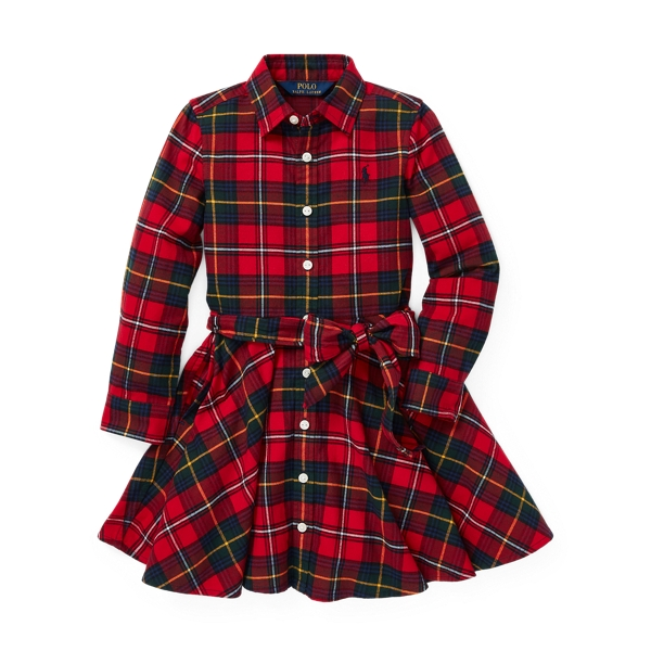 Ralph Lauren Plaid Flannel Shirtdress Red Multi 3T