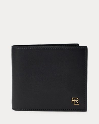 Metal-Plaque Leather Billfold