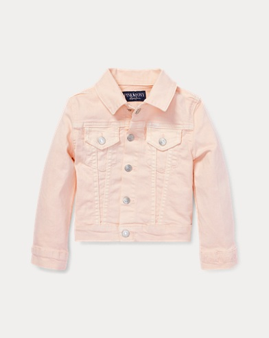 Denim-Truckerjacke mit Pink Pony