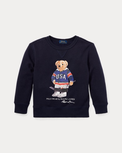 Fleece-Sweatshirt mit Hockey Bear
