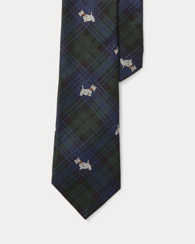 Tartan Scottie Dog Silk Tie