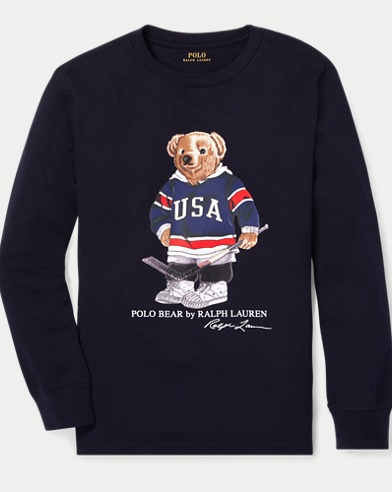 Hockey Bear Cotton T-Shirt