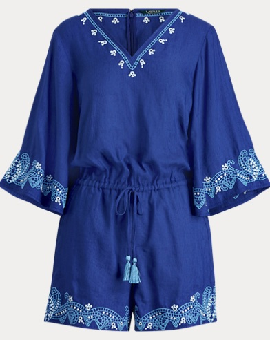 Embroidered Linen-Blend Romper