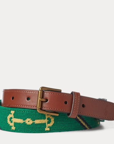 Tab-Front Leather-Wool Belt