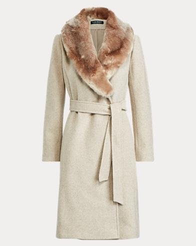 Faux Fur-Trim Shawl Coat