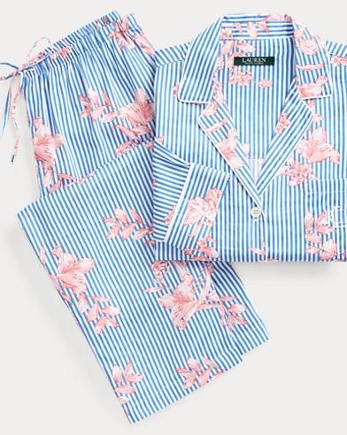 Floral-Stripe Sateen Sleep Set