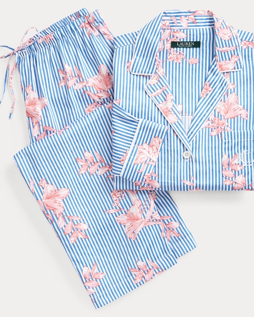 Lauren Floral-Stripe Sateen Sleep Set 1 b576b0808