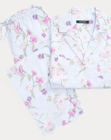 Floral-Check Cotton Sleep Set