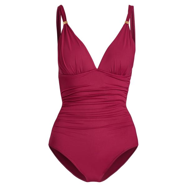 Ralph Lauren Slimming Ruched Swimsuit Plum 4